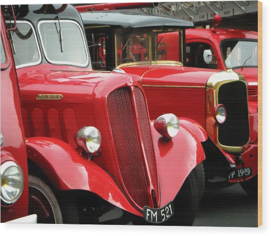 Vintage Fire Trucks Wood Print