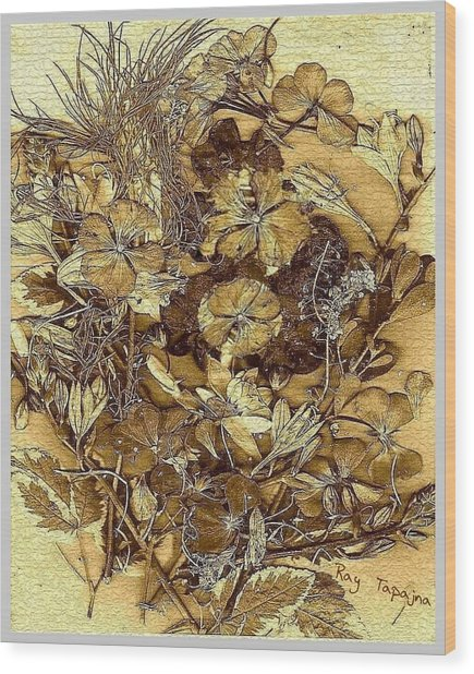 Vintage Flowers For You Wood Print by Ray Tapajna