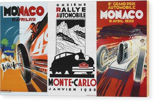 Vintage Monte Carlo Racing Posters Wood Print