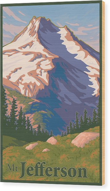 Vintage Mount Jefferson Travel Poster Wood Print by Mitch Frey