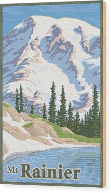Vintage Mount Rainier Travel Poster Wood Print