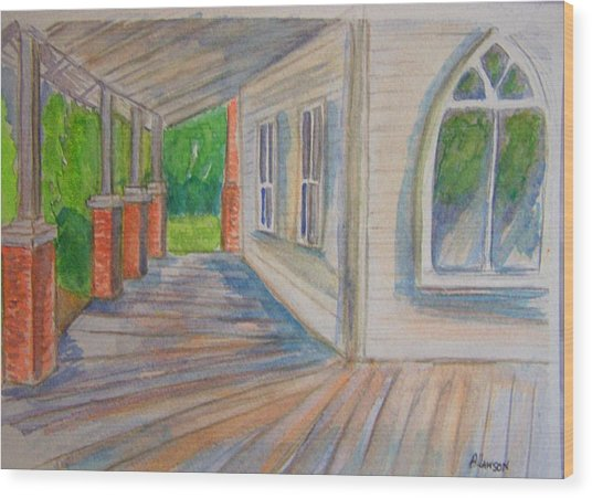 Vintage Porch With Gothic Window Wood Print