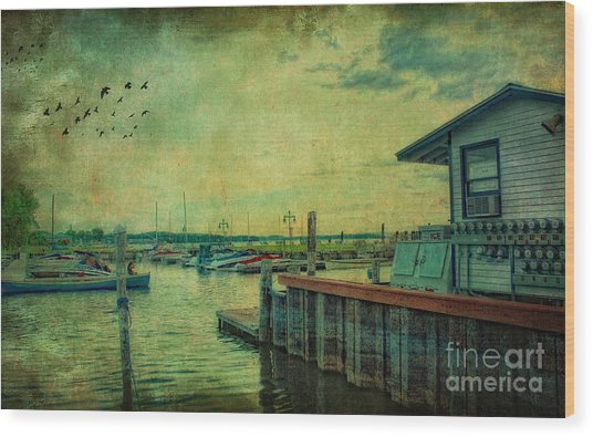 Vintage Vermont Harbor Wood Print
