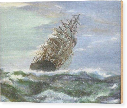 Violent Sea -oil Painting Wood Print by Rejeena Niaz