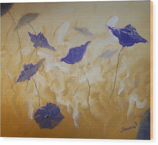 Violet Poppies Wood Print