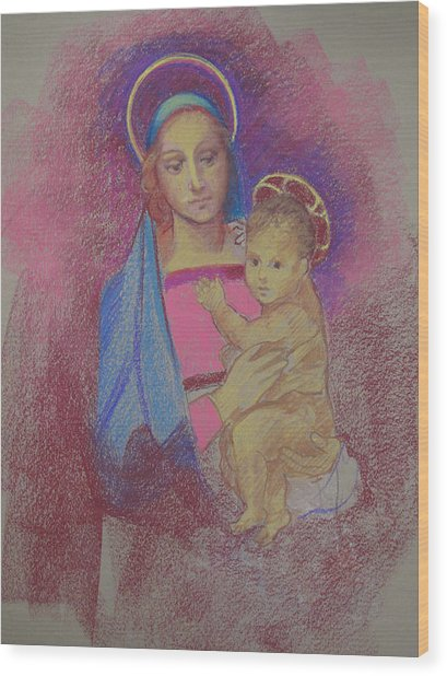 Virgin Mary With Baby Jesus Wood Print