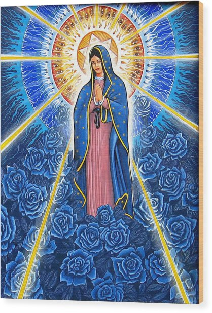 Virgin Of The Blue Roses Wood Print
