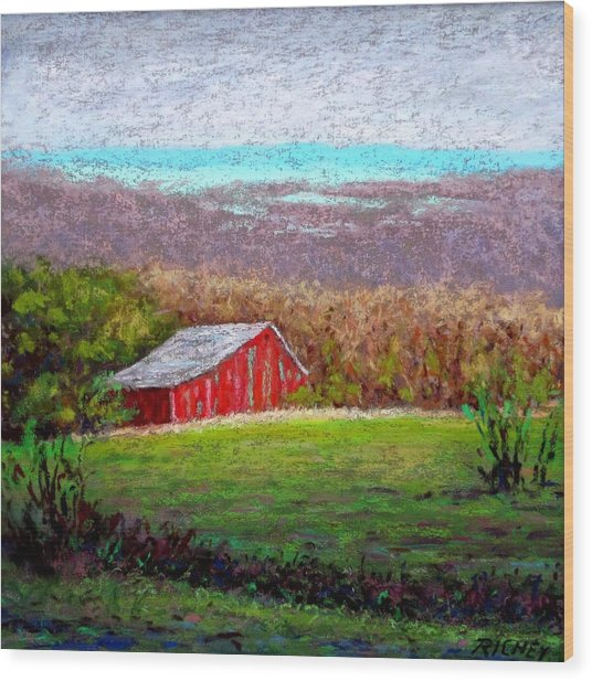 Vista With Red Barn Wood Print by Bob Richey