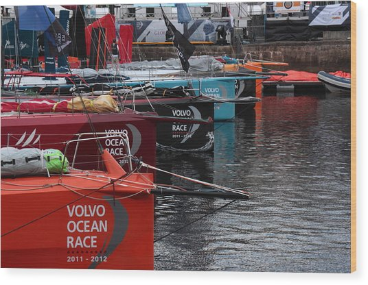 Volvo Ocean Race 2011-2012 Wood Print by Peter Skelton
