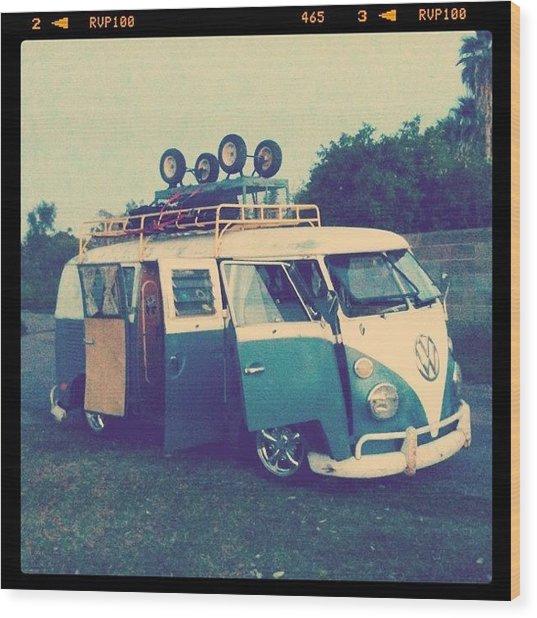 #vw #vintage #safari #lowered #bus Wood Print