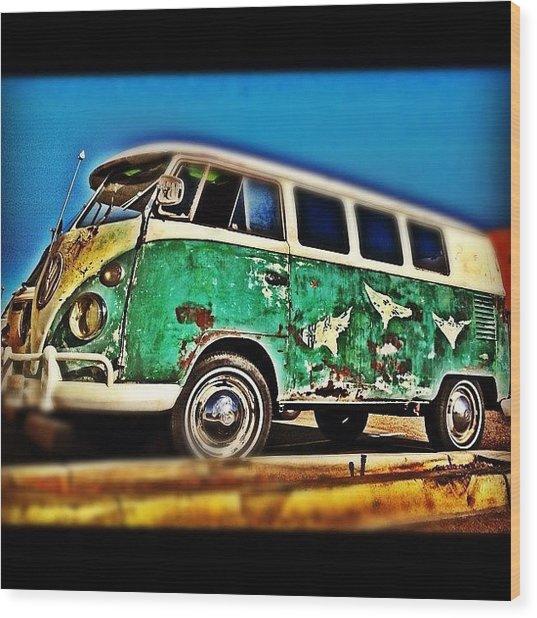 #vw #volkswagon #bus #patina #vintage Wood Print