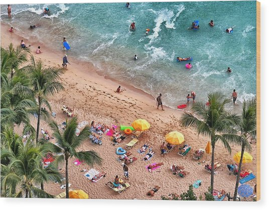 Waikiki Beach Aerial 1 Wood Print