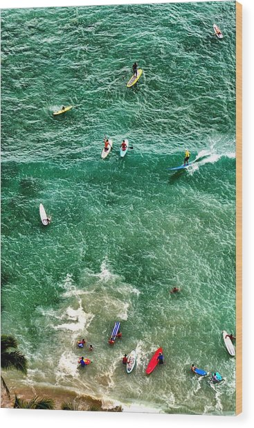 Waikiki Surfing Wood Print