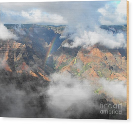 Waimea Canyon Rainbow Wood Print