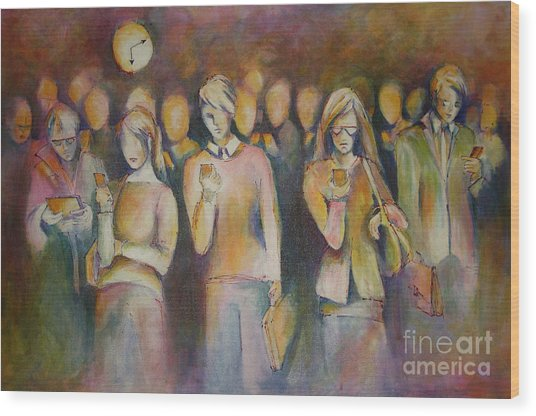 Waiting For The 6 15 Train Wood Print by Sandra Taylor-Hedges