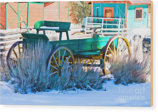 Waiting Wagon Wood Print