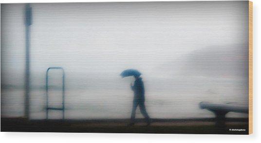 Walking In The Rain Wood Print by Christoph Mueller