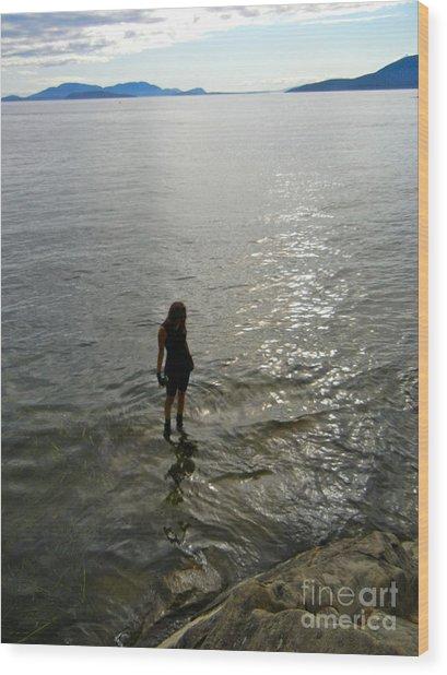 Walking On The Tide Wood Print
