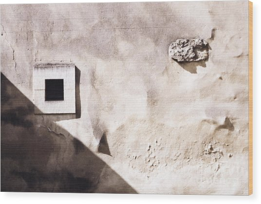 Wall With Square Hole Wood Print