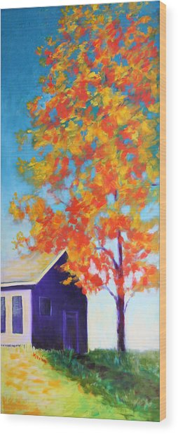 Warm Day In Fall Wood Print
