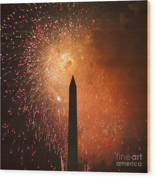 Washington Monument And Fireworks I Wood Print by Phil Bolles