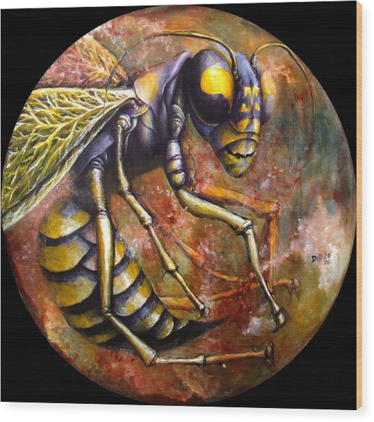 Wasp Wood Print by Rust Dill
