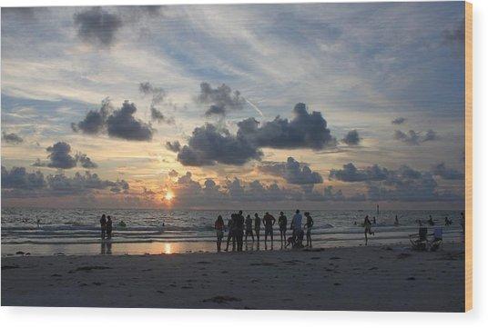 Watchers At Sunset Wood Print