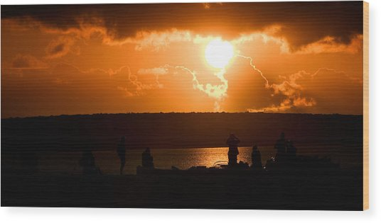 Watching Sunset Wood Print