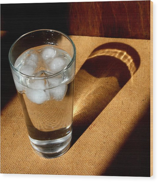 Water Glass In Sun Light Wood Print by Unknown