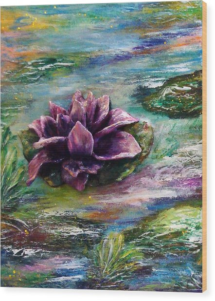 Water Lilies - Two Pieces Wood Print by Raya Finkelson