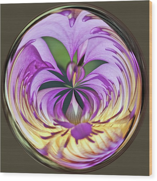 Water Lily Orb Wood Print