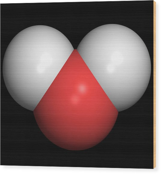 Water Molecule Wood Print by Friedrich Saurer