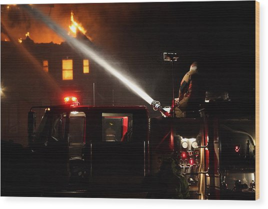 Water On The Fire From Pumper Truck Wood Print