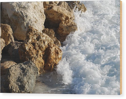 Water On The Rocks Wood Print by Carrie Munoz