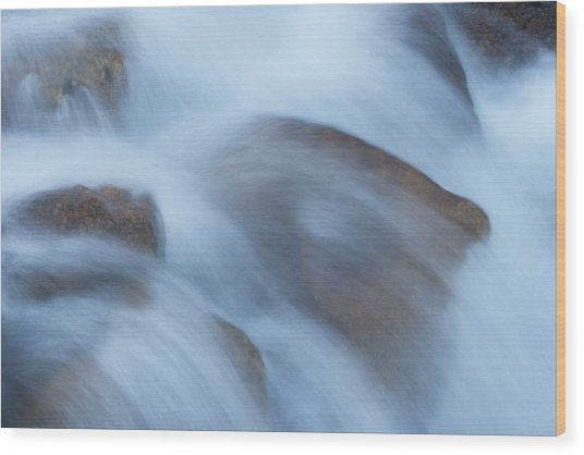 Water Over Rocks Wood Print by Maureen Bates