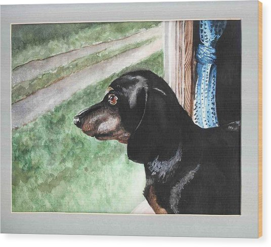 Watercolor Dog Wood Print by Kyle Gray