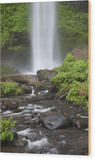 Waterfall In Gorge - Columbia River Gorge Wood Print by John Gregg