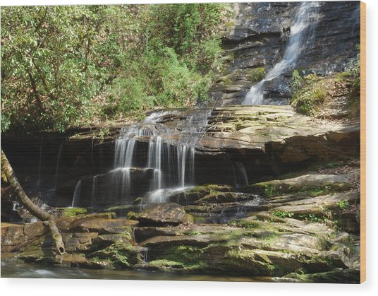 Waterfall Over Rocks Wood Print by Carrie Munoz
