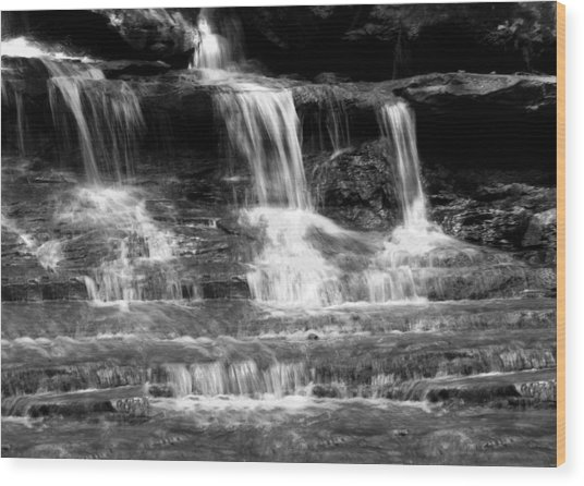 Waterfall Trio At Mcconnells Mill State Park In Black And White Wood Print