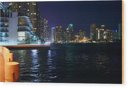 Waterfront By Night Wood Print by Dieter  Lesche