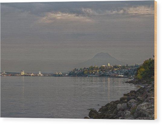 Waterfront Look At Mount Rainier Wood Print by Barry Jones