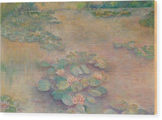 Waterlilies At Dusk Wood Print by Rita Bentley
