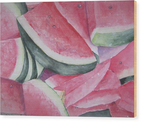 Watermelon Feast Wood Print