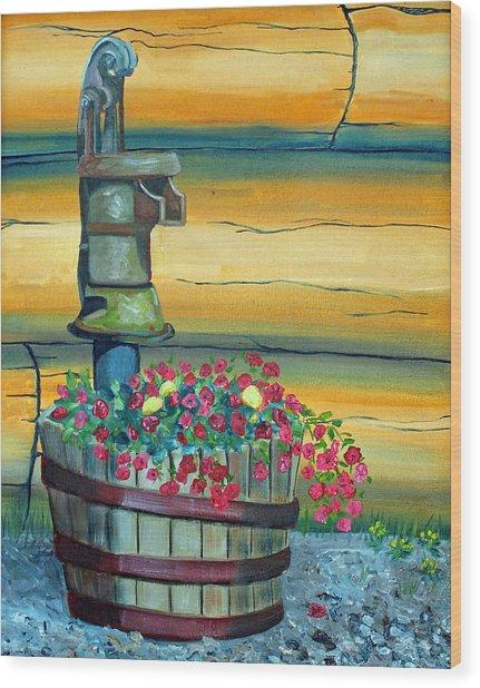 Waterpump And Petunias Wood Print by Amy Reisland-Speer