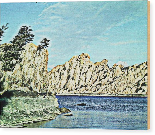 Watson Lake Wood Print by Lisa Wells