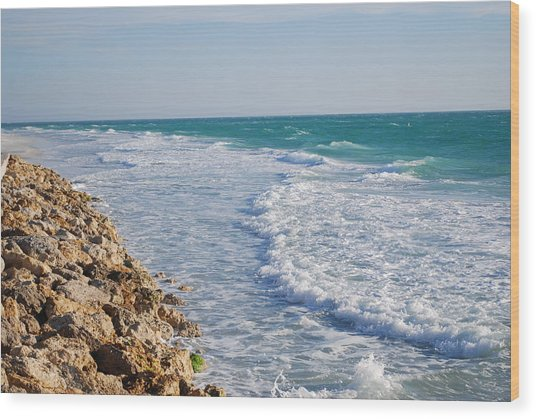 Waves At The Beach Wood Print by Carrie Munoz