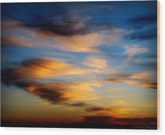 Wavy Sunset Clouds Wood Print by Aaron Burrows