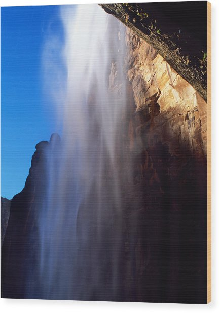 Weeping Rock Waterfall Wood Print