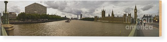 Wesminster Pano Wood Print by Keith Sutton