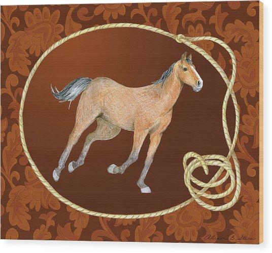 Western Roundup Running Horse Wood Print